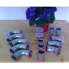 Muffe 35 mm Gerberit Heizung Fitting Chromstahlfitting Pressfitting Stahlrohr